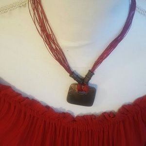 NWOT - Red Multistrand Necklace w/ Brass Drop